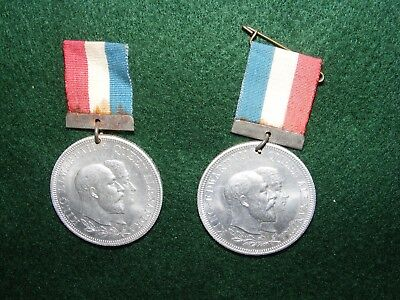 Antique King Edward Vii Alexandra Coronation Commemorative  Medallion X 2 1902