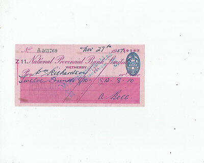 National  Provincial  Bank  Cheque  1957