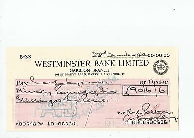 Westminster  Bank  Cheque  1966?