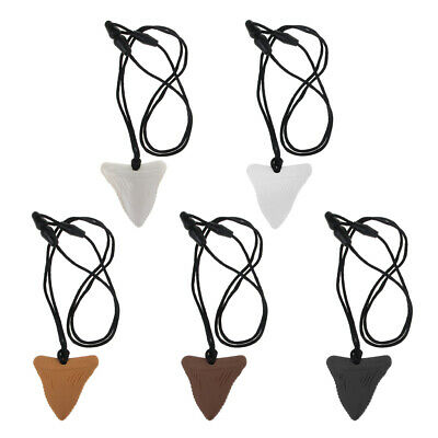 Shark Tooth Silicone Teething Necklace Baby Chew Teether Pendant BPA Free Beads