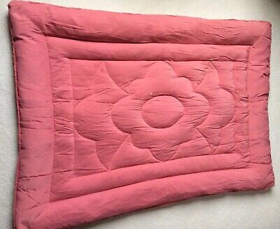 """Vintage Coral Pink Feather Eiderdown / Quilt, Small double size  width 46"""""""