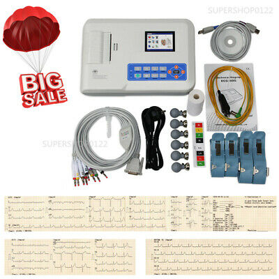 Digital 3 Channel 12 lead ECG/EKG machine +software Electrocardiograph ECG300G