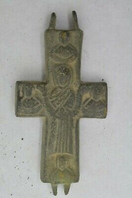 Byzantine bronze encolpion cross Virgin Mary & saints  5 century AD