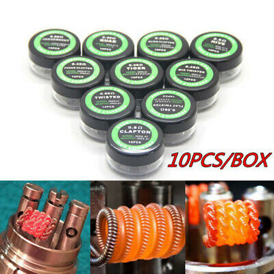 10x Pre Built Coils Staggered RBA RDA RTA Coil Head wraps also Alien Clapton tyu