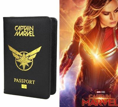 Passport Cover Avengers Captain Marvel Travel Credit Card Case ID Holders