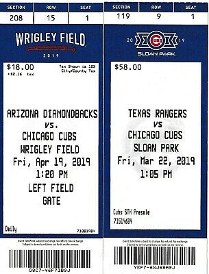 Chicago Cubs 2019 ticket stubs Pirates Angels Wrigley Field Diamondbacks 4/19