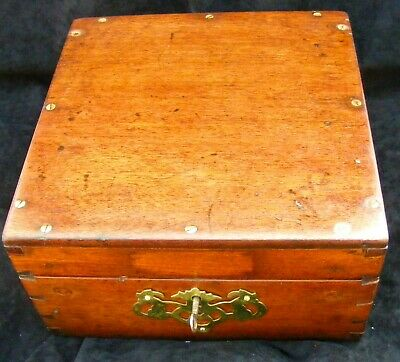 Old Wooden Box - Solid Mahogany - Working 2 lever lock - refurbished