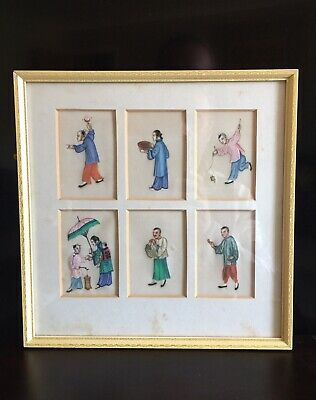 6 Chinese Qing Dynasty Canton 19th Century Pith Paintings
