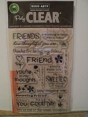 Hero Arts Poly Clear Clear Stamps Set Friends Cl351 Bnip *Look*