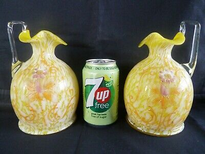 Beautiful Pair Victorian 19th Century Enamelled Marbled Yellow Glass Jug Vases
