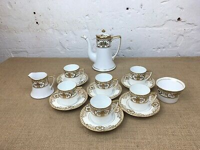 Lovely Complete 15 X Piece Vintage Gold & Ivory Noritake China Coffee Set