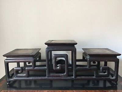 Chinese 18thC Zitan Scroll-Form Display Stand With Marble Insets Qianlong Period