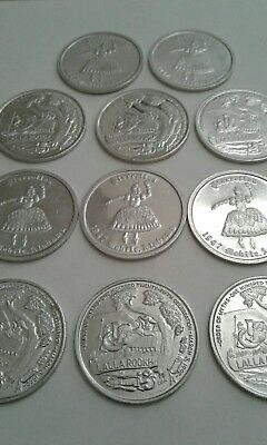 Mardi Gras ORDER OF MYTHS Mobile, Alabama DOUBLOONS 3-03-1992 Lot of 11 Tokens