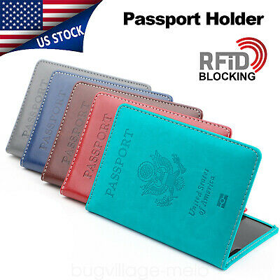 Travel Leather Passport Organizer Holder Card Case Protector Cover Wallet US