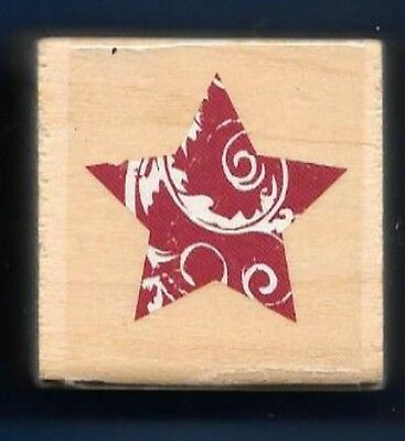 SWIRL ORNAMENT BULB SEAL DESIGN Holiday Winter Gift Tag NEW wood RUBBER STAMP