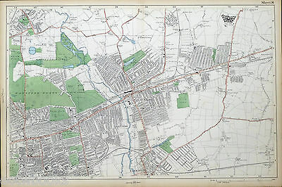 LONDON - Antique Map / Street Plan, WANSTEAD, ILFORD, BARKING - BACON, 1910.
