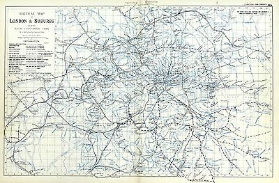 RAILWAY MAP OF LONDON,  1901 - Original Antique Map / City Plan, Bacon