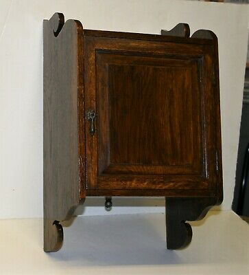 Antique Edwardian Small Wall Medicine or Smokers Cabinet Solid Carved Oak 1900s