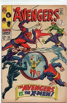 THE AVENGERS #53 Vs X-Men Silver Age Marvel Comics 1968 FN-