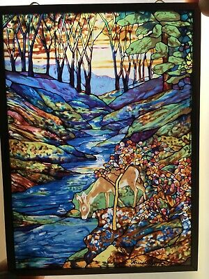 Louis C Tiffany 'Deer at Stream' vintage stained glass sun catcher / art glass