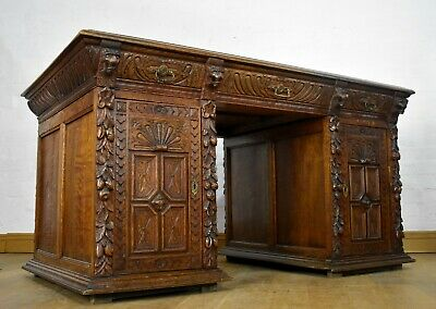 Large antique Victorian carved oak double sided partners writing desk