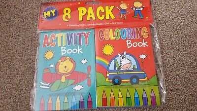 8 activity and colouring books