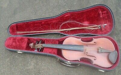 antique playable full size  German violin in case with broken bow