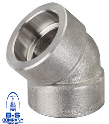 "Forged Duplex Stainless Steel 45 Degree Elbow 1-1/2"" 3000 Socket Weld F51/60"