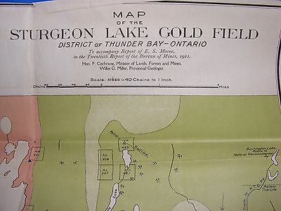 Antique Map Lake Sturgeon Gold Field Thunder Bay Ontario Canada 1911