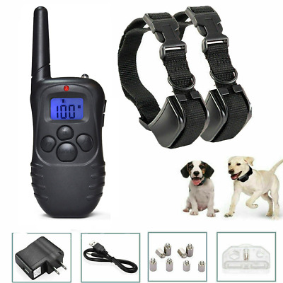Dog Pet Bark Training Rechargeable Electric Collar Shock 2 Collar LCD Remote