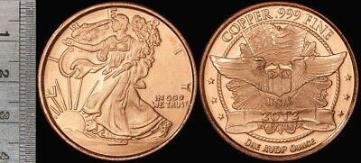 USA: 2012 Walking Liberty/ Eagle 1oz 999 Pure Copper Medal, 38mm