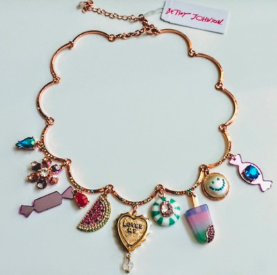 NWT Betsey Johnson Vintage Boardwalk Candy Crystal Necklace SOLD OUT RARE