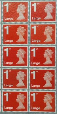 50 1st Class large Unfranked red GB Stamps (Peelable)c