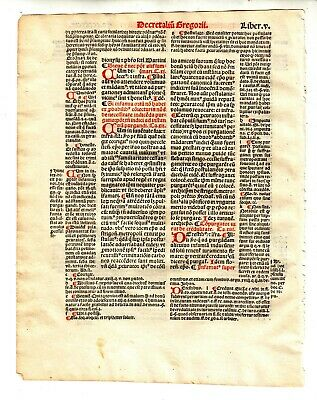 1516 Medieval Leaf From Book On Decrees Of Pope Gregory Ix With Coa