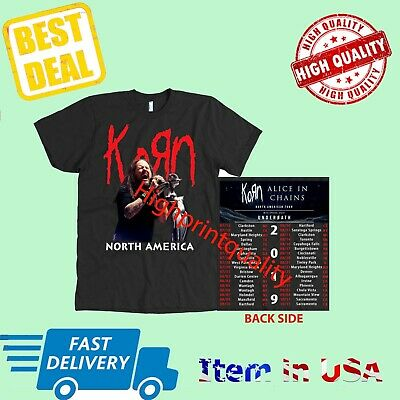 New Korn and Alice In Chains Shirt Tour 2019 T-Shirt Size Men Black Shirt