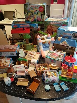 LARGE SYLVANIAN FAMILIES BUNDLE, 12 SETS, GOOD CONDITION, 100's of ITEMS, BOXES
