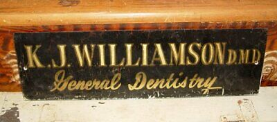 Antique Reverse Painted Glass Dentist Single Sided Trade Advertising Sign