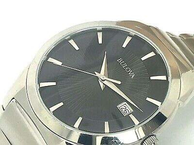 Bulova 96B149 Men's Classic Black Dial Stainless Steel Watch Works NO CLASP