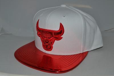 6affd1663de90 Authentic New Mitchell Ness Chicago Bulls Red Patent Visor Snapback Hat Cap  New