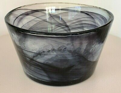 "Kosta Boda Ulrica Hayden Vallien Mine Purple Swirl Art Glass Bowl 6 3/4"" W"