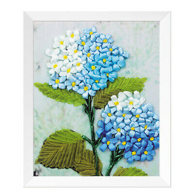 Ribbon Embroidery Cross Stitch Kit Flower Pattern for DIY Home Decor 20x25cm