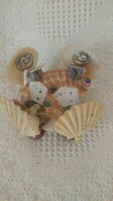 Vintage Hand Made Seashell Art of Clams Playing Cards Sculpture Figurine Crafted
