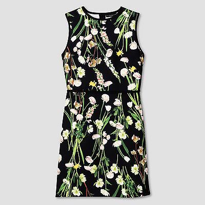NWT Size S Victoria Beckham for Target Womens Black English Floral Satin Dress