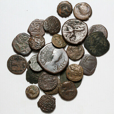 Top Lot Of 25 Ancient Greek Roman Byzantine Indian Kushans Pirates Bronze Coins