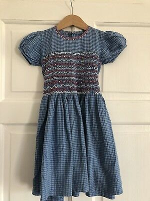 Vintage Hand Stitched Girls Blue Checked Smocked Dress Prop Collectable