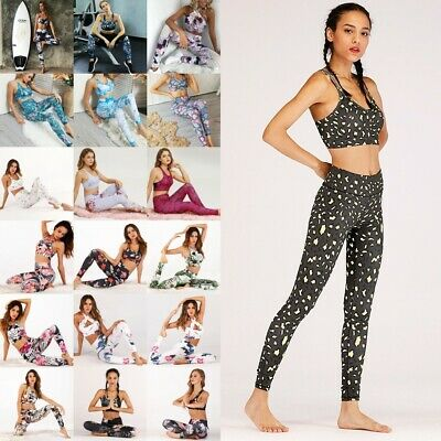 2PCS Women Running Clothes Sports Gym Yoga Leggings Sets Fitness Bra+Pants UK