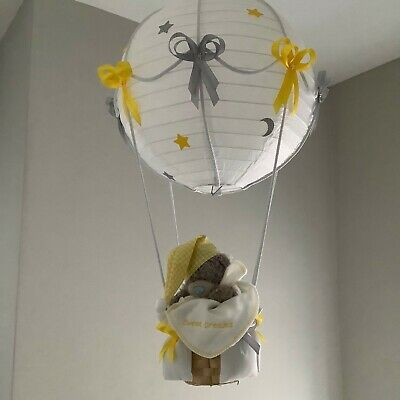 Hot air balloon  nursery lightshade , yellow and silver grey, made to order