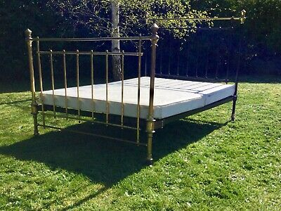 Amazing quality Double Brass & Iron Bed Original Upholsterd Base Arts Crafts