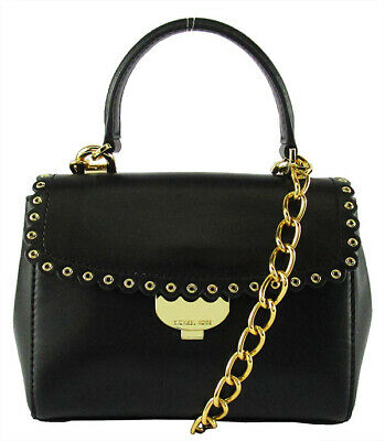 b534d7930b3d MICHAEL KORS AVA Black Leather Extra Small Scalloped Crossbody Bag Msrp   228.00
