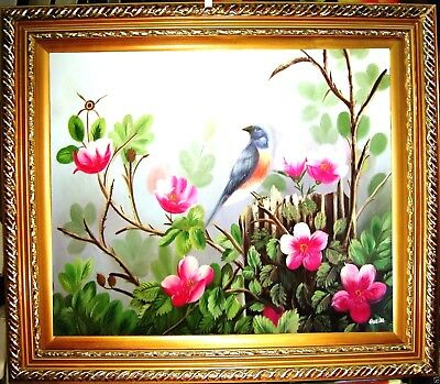 Blue Jay Bird Flower Hand Painted Oil Painting Home Office Wall Decor Art F42